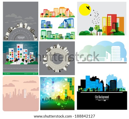 Modern city landscape vector set - stock vector