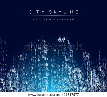 Modern city life abstract background design with geometric shapes. City at night, conceptual vector illustration. Well organized composition. - stock vector
