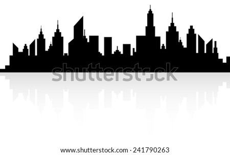 Modern City Skyline Silhouette On White With Reflection - stock vector