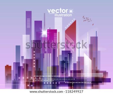 Modern cityscape concept background - stock vector