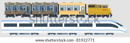 Modern & Classic Trains-vector - stock vector