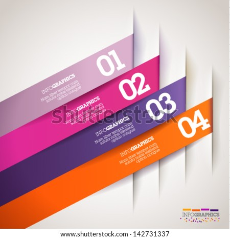 Modern, clean, Design template - fully editable / can be used for infographics / numbered banners / diagonal colorful cutout lines / graphic or website layout vector/ mobile application - stock vector