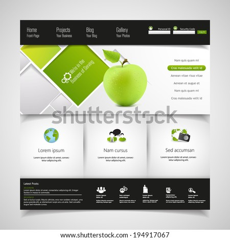 Modern Clean Green Business Website Template  - stock vector