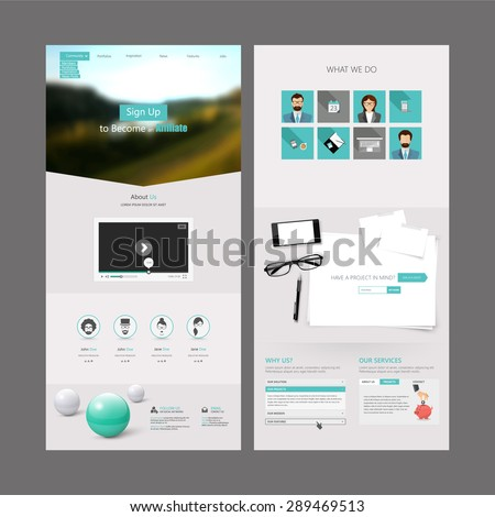 Modern Clean One page website design template. All in one set for website design that includes one page website template - stock vector