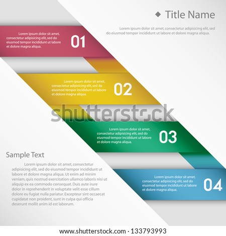 Modern clean template / can be used for infographics / numbered banners - stock vector