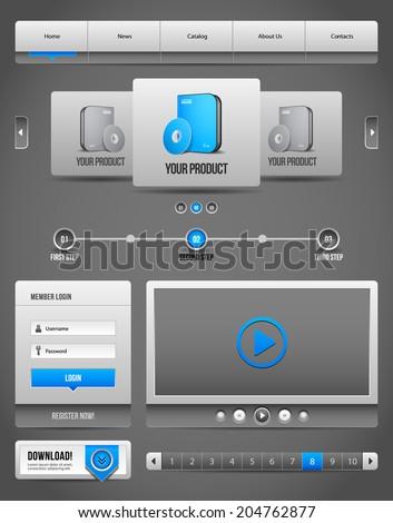 Modern Clean Website Design Elements Grey Blue Gray 2: Buttons, Form, Slider, Scroll, Carousel, Icons, Menu, Navigation Bar, Download, Pagination, Video, Player  - stock vector