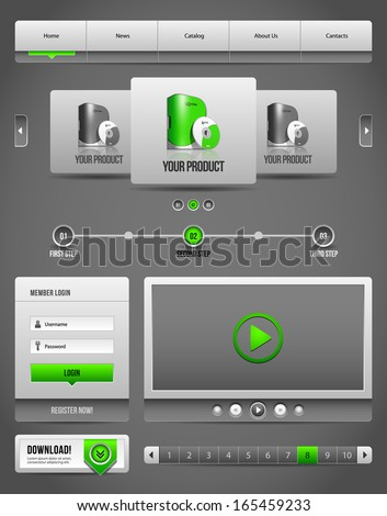 Modern Clean Website Design Elements Grey Green Gray 2: Buttons, Form, Slider, Scroll, Carousel, Icons, Menu, Navigation Bar, Download, Pagination, Video, Player  - stock vector