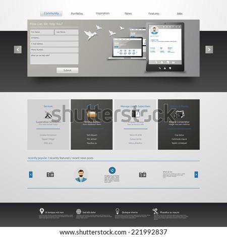 Modern Clean Website design template  - stock vector