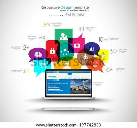 Modern Cloud Globals Services concept background for social media advertising and communications with real devices mockup. - stock vector