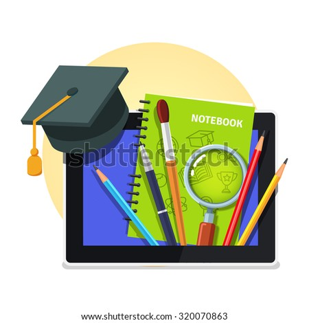 Modern college an university education concept. Student cap on tablet computer with sticking textbook, writing tools and magnifying glass. Flat style vector illustration isolated on white background. - stock vector