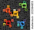 Modern color social media icons seamless texture - stock vector