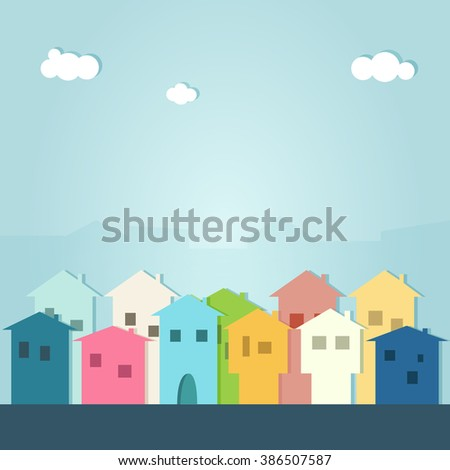 Modern Colorful City Concept - stock vector
