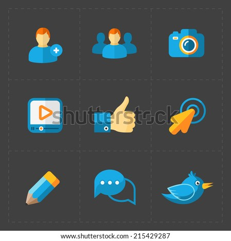 Modern colorful flat social icons  - stock vector