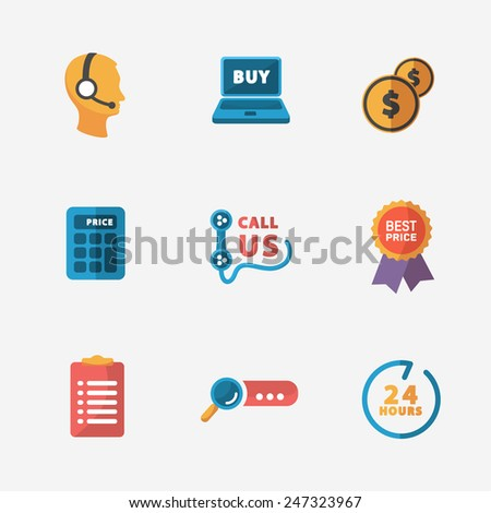 Modern colorful shop icons on black - stock vector