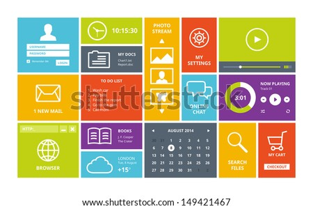 Modern colorful user interface vector layout in flat design with simple square windows, buttons, widgets and navigation icons.  Isolated on white background. - stock vector