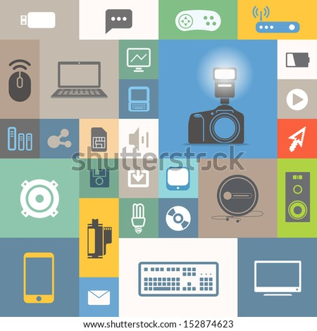 Modern communication icons on color tiles - stock vector