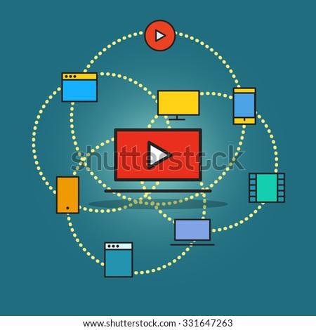 Modern communication scheme. Flat design concept - stock vector