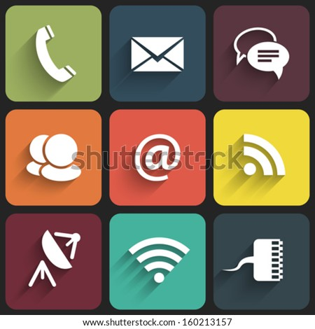 Modern communication signs and icons in Flat Design with shadows. Vector illustration - stock vector