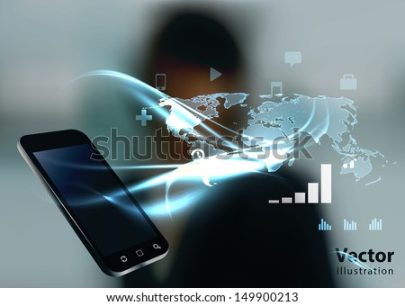 Modern communication technology illustration with mobile phone and high tech business background  - stock vector