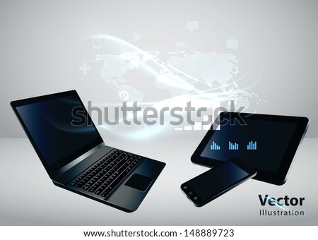 Modern communication technology illustration with mobile phone, tablet, laptop and high tech background  - stock vector