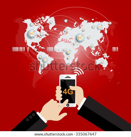 Modern communication technology mobile phone high tech, wide web connection concept. Hand holding white smartphone connected browsing internet worldwide world map background. 4g data plan provider - stock vector
