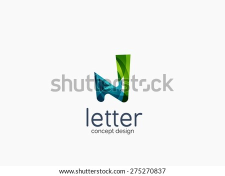 Modern company logo, clean glossy design. Abstract shape made of color overlapping wave pieces - stock vector