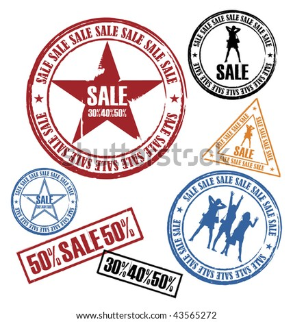 Modern composition from the seals. On them silhouettes of women and inscription SALE are represented. All press different in the size. - stock vector