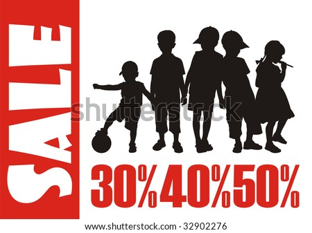 Modern composition with children's silhouettes. Figures of boys and the girl are above located. Under them there are red percent. - stock vector