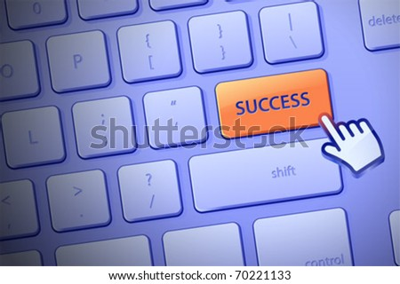 """Modern computer keyboard with """"Success"""" button. Complete keyboard is available behind the clipping path. - stock vector"""
