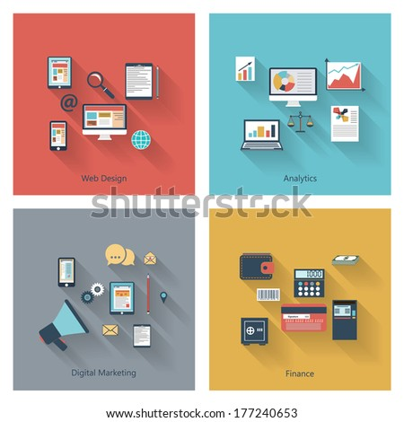 Modern concepts collection in flat design with long shadows and trendy colors for web, mobile applications, digital marketing, finance, social networks, analytics etc. Vector eps10 illustration - stock vector