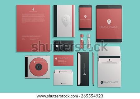 Modern corporate logotype presentation template design. Business design, envelope, folder, brochure vector illustration - stock vector