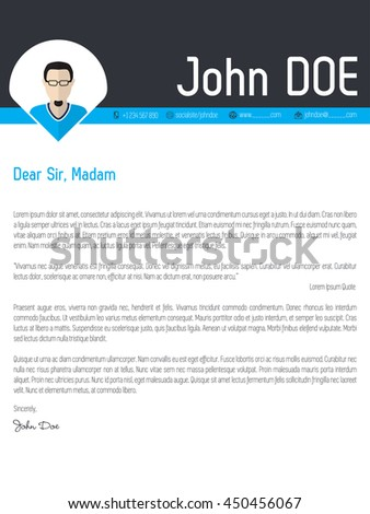 Modern cover letter resume cv curriculum vitae template with photo pointer - stock vector