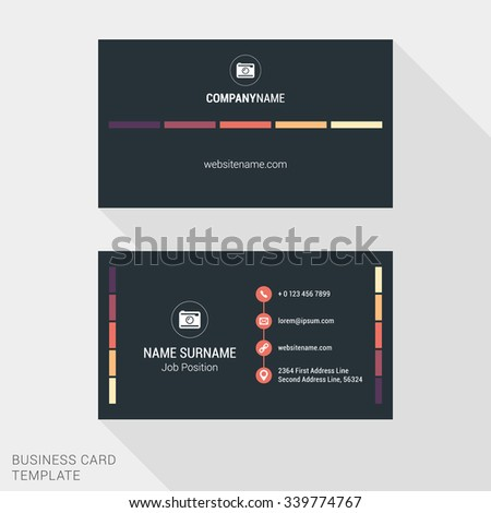 Modern Creative and Clean Business Card Template with Flat Style Elements and Colors. Flat Style Vector Illustration - stock vector