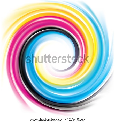 Modern creative eddy aqua backdrop pattern of vivid primary dye gamma full-colour printout technology process glossy curvy spraying ripple disk. Closeup view with space for text in light center - stock vector