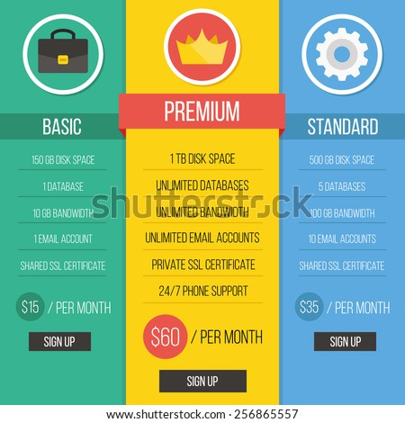 Modern creative flat style pricing table vector illustration. Simple clean graphic design. Red, green, yellow, blue, brown, white and black ui elements. - stock vector