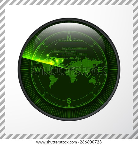 Modern creative vector green radar screen monitor of white metal with a map of the earth, concept design element navigation military defense and attack countries - stock vector