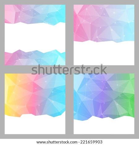 Modern crystal structure bright backgrounds set. Vector illustration - stock vector