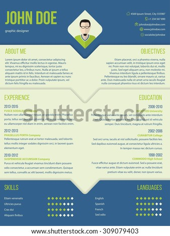 Modern curriculum cv resume template design in blue and green color combo - stock vector