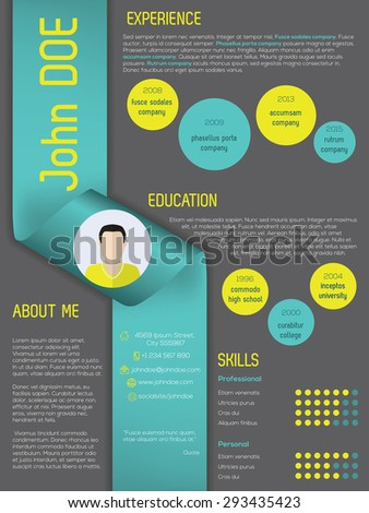 Modern curriculum vitae cv resume template design with ribbon - stock vector