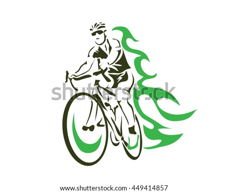 Modern Cycling Action Silhouette Logo - Green Flame Cyclist - stock vector