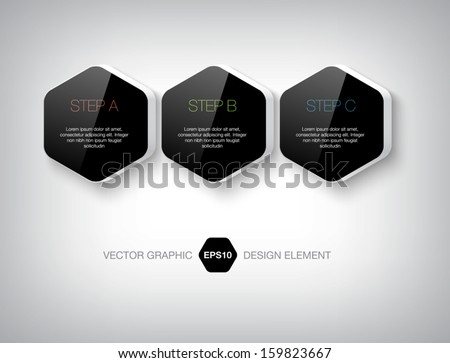 Modern 3d black hexagonal infographic boxes. Numbered banners. Plastic glossy badges. Can be used for website and promotion. Clean design layout template. - stock vector