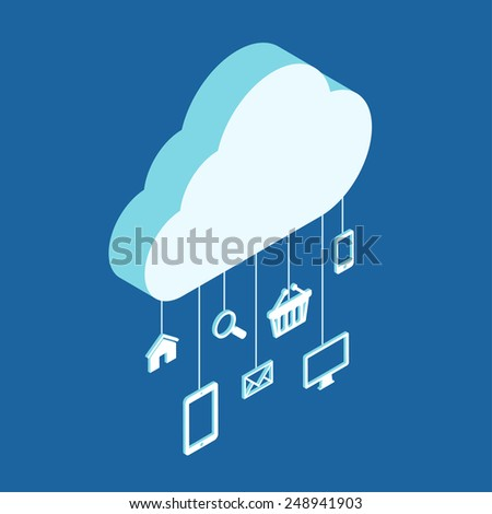 Modern 3d flat design isometric concept for cloud service hosting online media file data backup storage shopping search mail. Cloud shape and icon set on threads. - stock vector