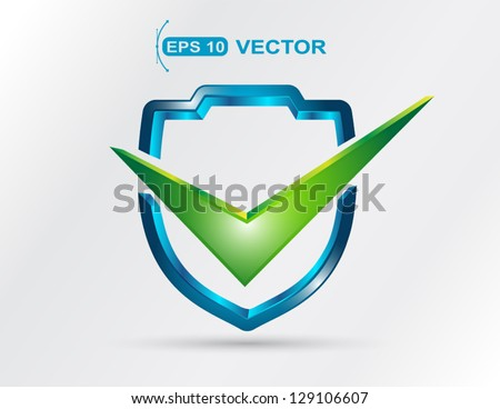 modern 3d shape shield with check mark - stock vector