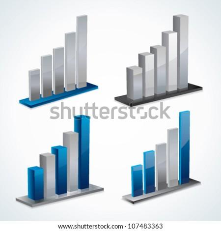 Modern 3d vector graph set - stock vector