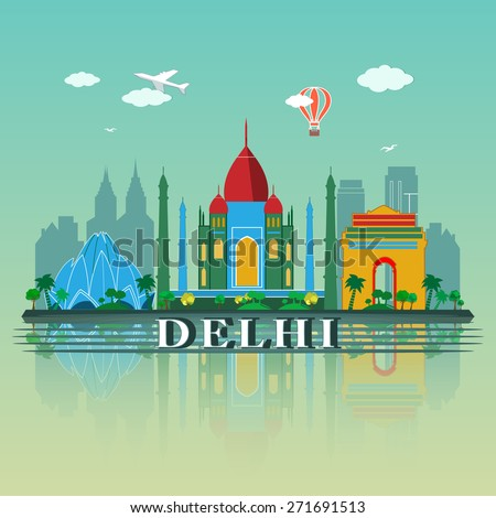 Modern Delhi City Skyline Design. India - stock vector
