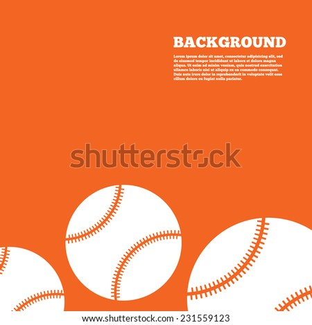 Modern design background. Baseball ball sign icon. Sport symbol. Orange poster with white signs. Vector - stock vector