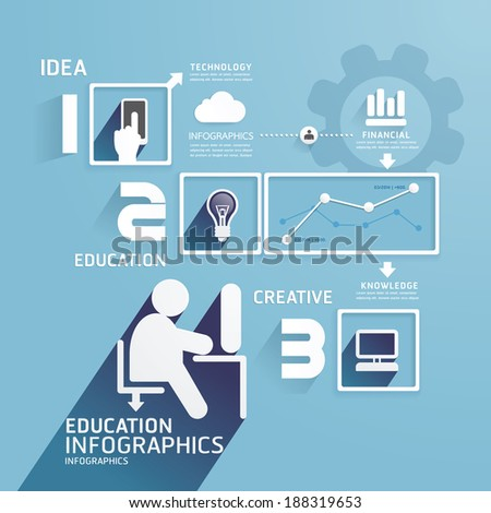 Modern Design Education infographic paper cut template.can be used for infographics .graphic or website layout vector - stock vector