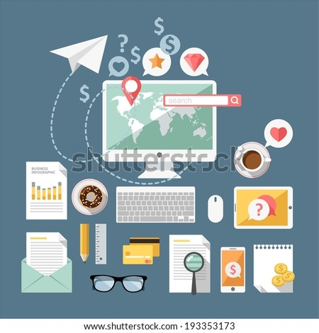Modern design flat icon vector collection concept in stylish colors - stock vector