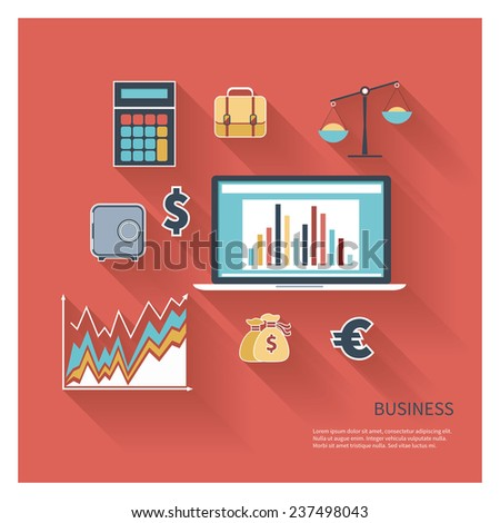 Modern design flat icon vector collection concept in stylish colors of business workflow items and elements, office things and equipment, finance and marketing objects. Isolated on red background. - stock vector