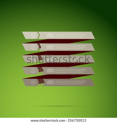 Modern design infographic with icons and numbered stripes template, silver gradient on green background - stock vector